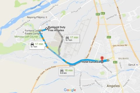 Route from Puregold to Hotel EuroAsia