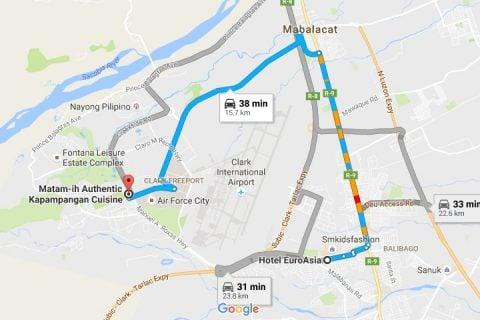 Route from Hotel EuroAsia to Matam-Ih