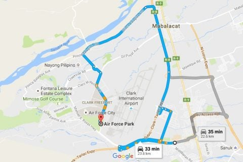 Route from Hotel EuroAsia to Air Force Park