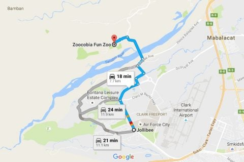 Route from Jollibee to Zoocobia Fun Zoo
