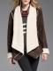 HORRYZIN: Coffee H-line Long Sleeve Piping Plain Down Coat