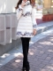 DABUWAWA: White Floral Pockets Turtleneck Long Sleeve Down Coat