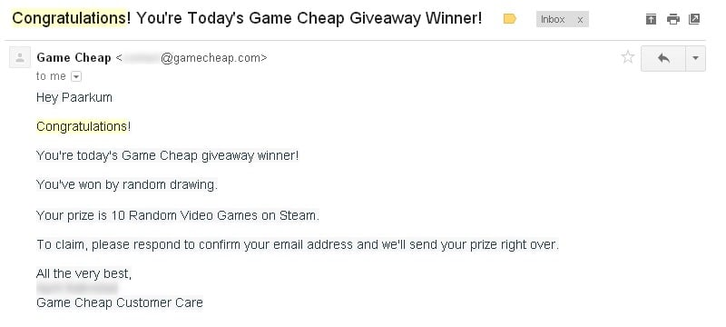 Does GameCheap really gives prizes from their giveaways? - Email Part 1