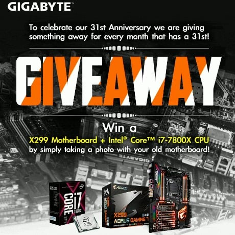 Win Gigabyte AORUS X299 Gaming MoBo and Intel Core i7-7800X (FB) - #Giveaways (WW)